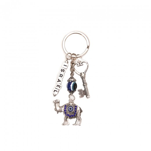 Keychain key, camel + ISRAEL inscription