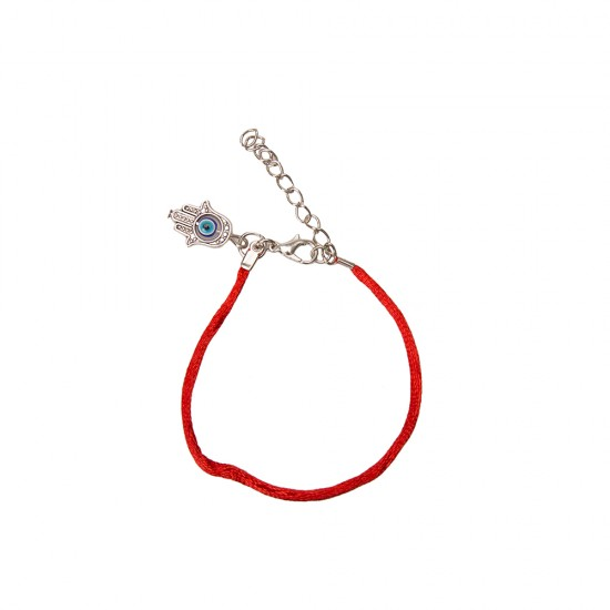 27140546,Bracelet on the hand of a simple red thread with Hamsa