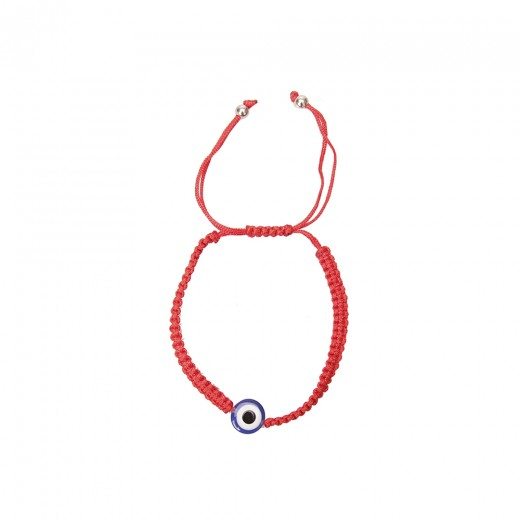 Bracelet on a hand from a red thread with an eye