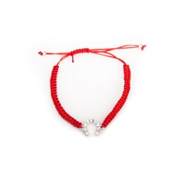 Handmade bracelet on a red rope horseshoe with a blue eye, silver