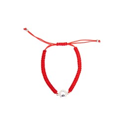 Handmade bracelet on a red rope horseshoe with rhinestones, silver