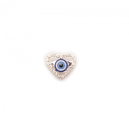Brooch in the form of a heart with a blue eye