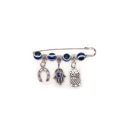 Brooch-pin decoration with hanging objects, owl, hamsa, horseshoe