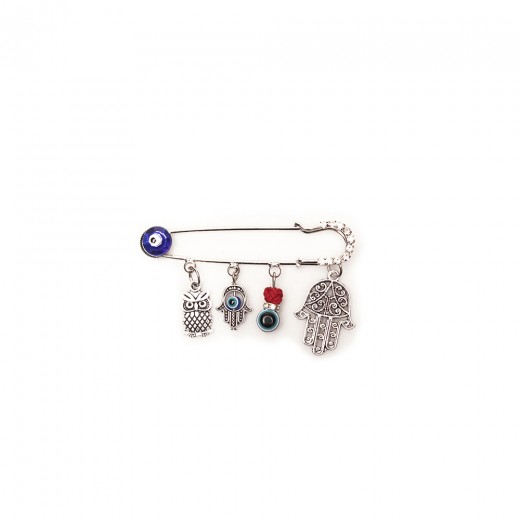 Brooch-pin decoration with hanging items