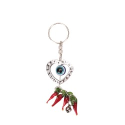 Keychain heart inside with blue eye with pepper