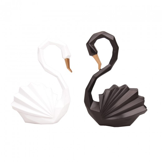 Gift set of 2 swans, black and white color mix