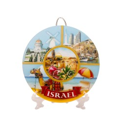 Ceramic Souvenir Plate With A Drawing Of Israel