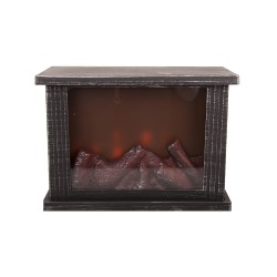 Interior fireplace with built-in lamps