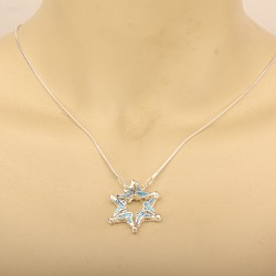 Folding double-sided pendant pendant Magen David (Star of David) on a chain