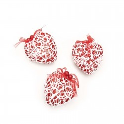 Set of decorations on the Christmas tree hearts