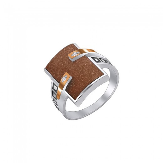 """Кольцо из серебра с золотом и ограночным камнем """"Астера"""""""