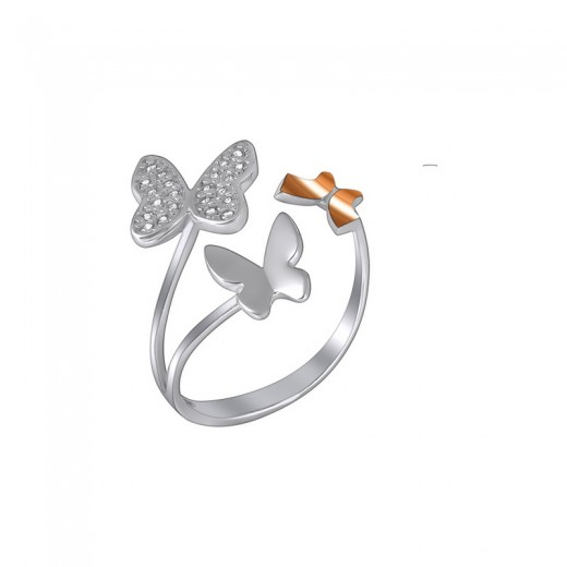 "Silver Ring with Gold and Zirconia ""Butterflies"""