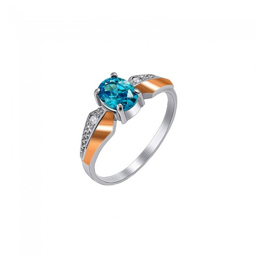 """Silver ring with gold and zirconia """"Versailles"""""""