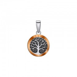 """Silver pendant with gold and black """"Tree of Life"""""""