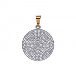 "Silver pendant with gold and zirconium ""Small Disk"""