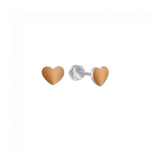 """Silver & gold stud earrings - """"Big Heart"""""""