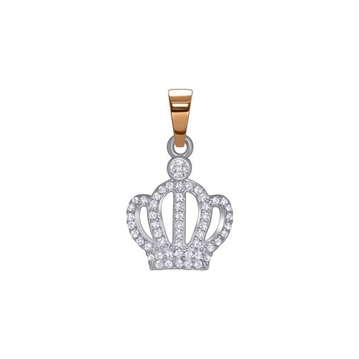 "Silver pendant with gold and zirconia ""Crown"""