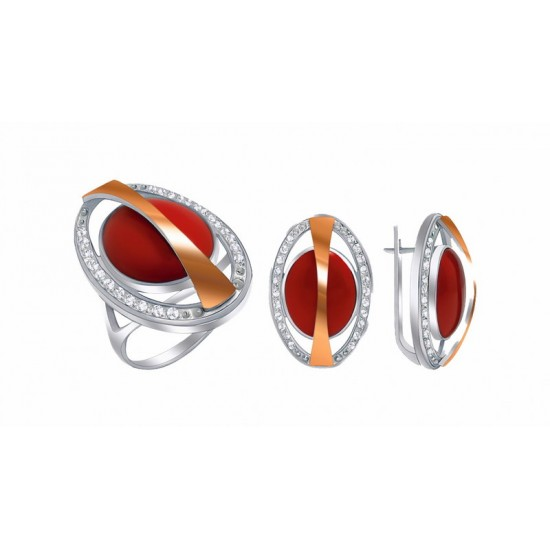"""Set of silver with gold and cutting stone """"Saturn"""""""