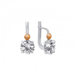 Silver, gold and zirconia earrings from European collection