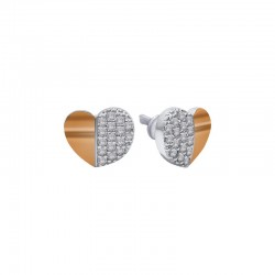 Silver & gold stud earrings - Heart