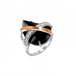 """Silver ring with faceted stone and zirconium """"Mystery"""""""