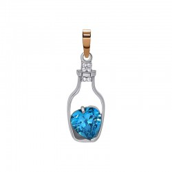 """Silver pendant with gold and zirconium """"Jug"""""""