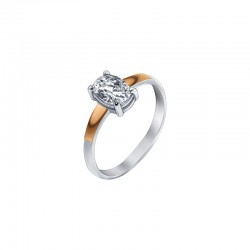 "Silver ring with zirconium - ""Sharp"""