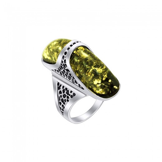 """Silver ring with amber- """"Prince"""""""