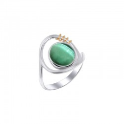 """Silver ring with faceted stone """"Spring"""""""