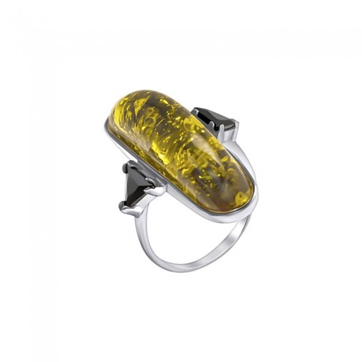 """Silver Ring with Zirconia """"Amber"""""""