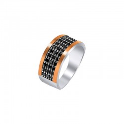 """Ring silver with gold and zirconium- """"Carolina"""""""
