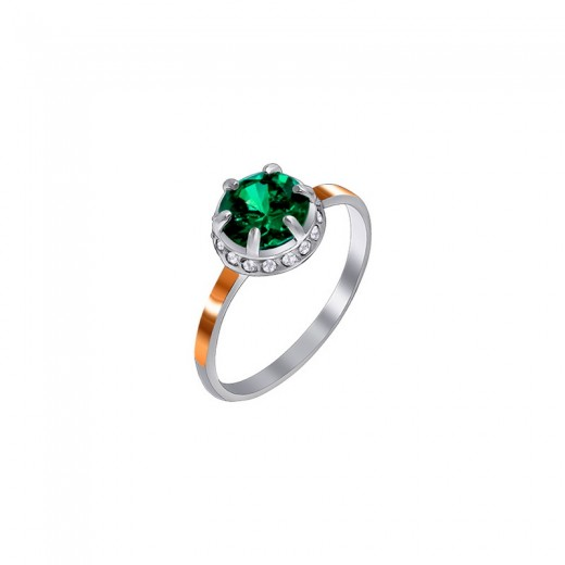 Silver and Gold Zirconia Ring - Melanie