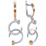 """Earrings made of silver with zirconium- """"Nails"""""""