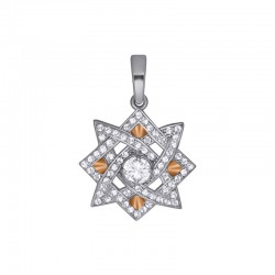"""Silver pendant amulet with zirconia """"Star of Lada"""""""