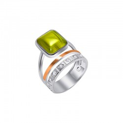 Silver Ring with Arabesque Gold
