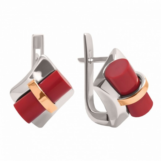 "Silver Coral Earrings ""Alaska"""