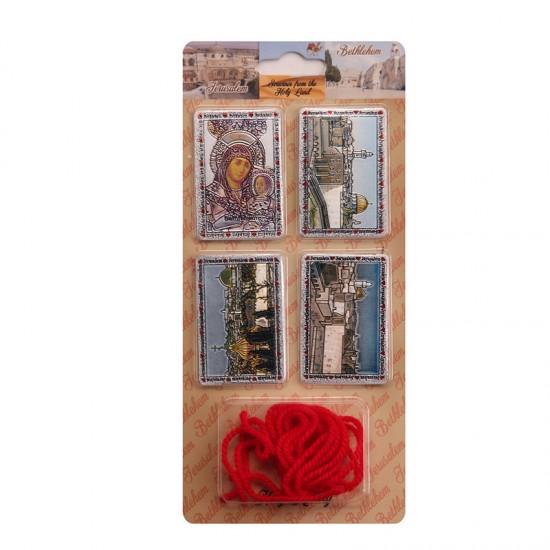Set of rectangular 4 magnets, red thread 3 pcs