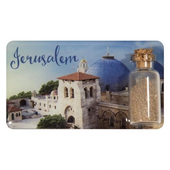A magnet with a can of earth - Jerusalem is a unique souvenir