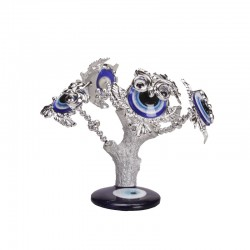 Souvenir tree from the evil eye 5 owls on the tree, silver